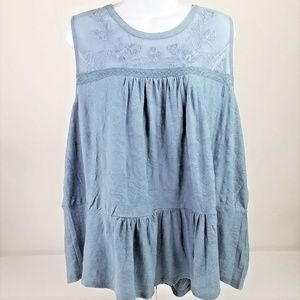 Lucky Brand Tiered Jacquard Blue Tank Womens 3X